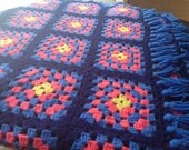 Vintage Hand Knit Bright Colored Granny Squares Blanket SALE
