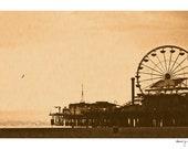 Santa Monica Print - Los Angeles Art - Ferris Wheel - California, Fine Art Print, Carnival, Wall Decor, Summer, Travel, Nursery, Sepia, LA