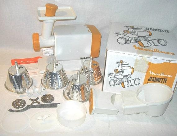 Vintage Moulinex Jeannette Electric Meat Grinder-Salad Maker Pristine Tangerine Orange