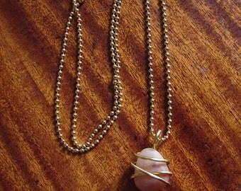 Necklace Memory Stone Memorabilia in Wire-Wrapped Pendant