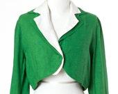 Green Vintage Jacket Cropped Linen Blazer Womens Medium Large