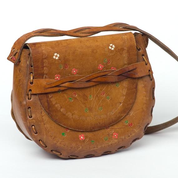 70s Vintage Bag Tooled Leather Purse Hippie Boho Little Flowers