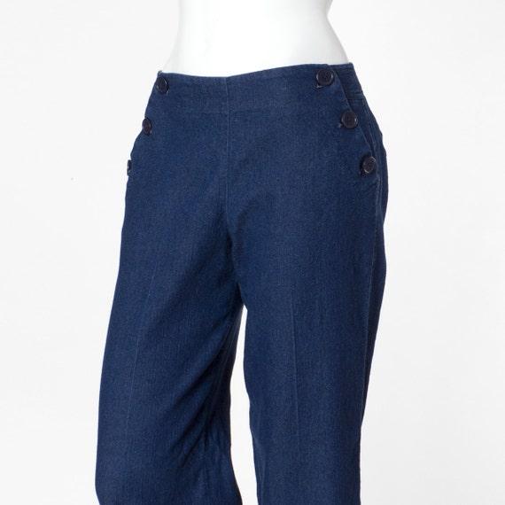 80s Vintage Pants Wide Leg Sailor Navy Blue Medium 6