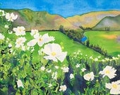 Ojai Valley Wildflowers Watercolor Painting, Rolling Poppy Hills, Spring Flower Landscape Nature Fine Art Print, Carissa Joie Luminess