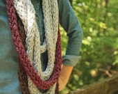 CLEARANCE Purple, Grey & Brown Knit Infinity Scarf