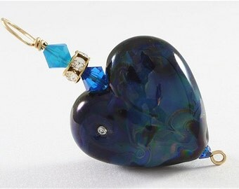 Glass Heart Lampwork Focal Bead Pendant in Black, Blue, Gold - SRAJD