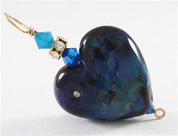 Glass Heart Lampwork Focal Bead Pendant in Black, Blue, Gold - SRAJD