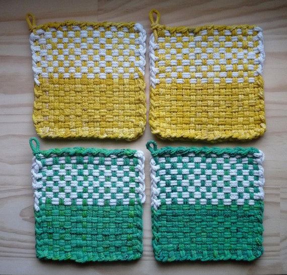 RESERVED Yellow and White Green and White Colorblock Check Woven Cotton Loop Loom Potholders Vintage Colorful Kitchen Farmhouse