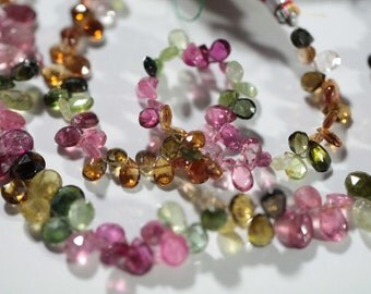 Watermelon Tourmaline Faceted Pear Briolettes, 6 - 7 mm, Half Strand, 36 beads GM3701FP/7