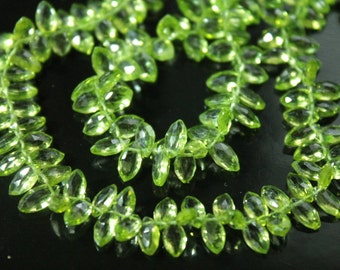 Peridot Faceted Marquise Briolettes, 7 - 9 mm, 6 beads GM2501FM/8/6