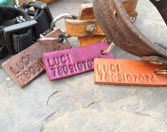 Large Dog ID Tag - Custom Stamped Leather