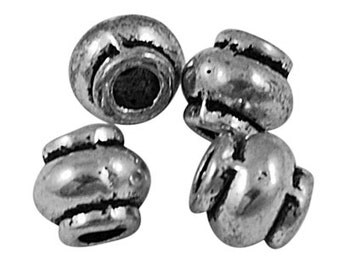 200pcs Antique Silver Barrel Spacer Beads, 4x4.5mm, FREE SHIPPING to USA