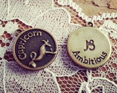 2 - Zodiac Sign Charms, CAPRICORN, Antique Bronze, Star Sign Charms, Vintage Jewelry Supplies