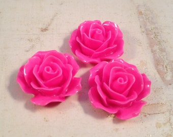 6 Pcs Hot PINK Resin Flowers Vintage Style Plastic Rose Cabochon flowers Resin Roses 18x18x8mm
