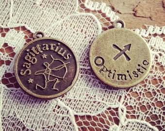 2 Pcs SAGITTARIUS Zodiac Sign Charms Antique Bronze SAGITTARIUS Star Sign Charm Small Charm Vintage Style Pendant Charm Jewelry Supplies
