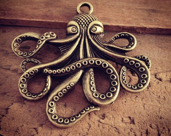 1 Pc Large Octopus Pendant Charm Antique Bronze Squid Charm Pirate Charm Nautical Charm Vintage Style Pendant Charm Jewelry Supplies (BB098)