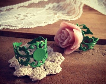4 pcs ring base setting GREEN Ornate Vintage style Ring base Jewelry supplies (AW059)