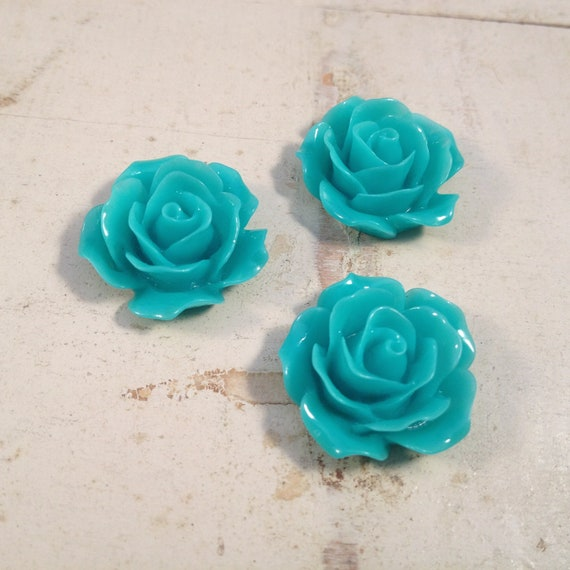 6 Pcs Teal Blue Green Resin Flowers Vintage Style Plastic Rose Cabochon flowers Resin Roses 18x18x8mm