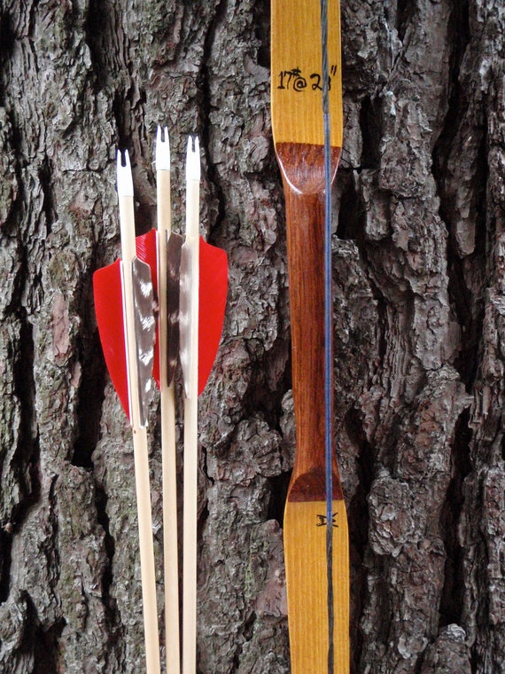 """Youth Archery Bow, 17lb at 23"""", Osage and Bamboo bow with Brazilian Cherry, comes with arrows"""