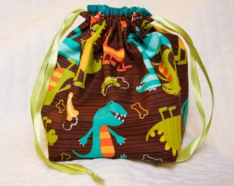Knitting project bag- blue Dino