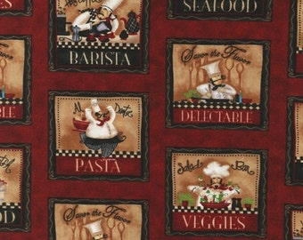 """Last 32"""" Remnant - Robert Kaufman - Chef Kitchen Creations Patchwork - Red - LoriLynn Simms"""
