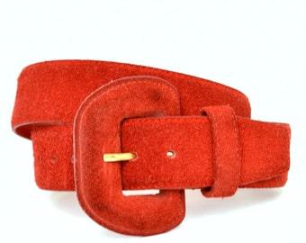 Vintage 80s Red Suede Leather Wide Belt L Vtg 1980s Waist Belt Large