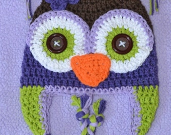 crochet owl  hat, owl hat, crochet kids hat, custom colors
