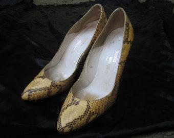 "Sacha London Vintage Snake Skin 4"" High Pumps"