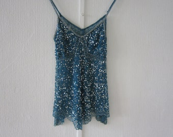Blue Sheer Beaded Top