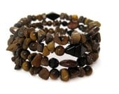 Bracelet - Tigers Eye, Brown and Black, Wire Wrapped Adjustable Bracelet, Black Onyx