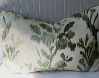 SALE / IN STOCK / Abstract Floral Pillow cover/ Sage green, olive and creme with textured upholstery back