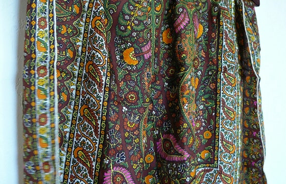 Perfect Paisley 1960s Silk La Dear Scarf Made in Italy- Brown Green Orange Pink Yellow Floral Earthy Italian