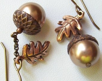 Bronze Acorn Earrings with Brass Caps and Antique Copper Oak Leaves