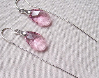 Light Rose 16mm Crystal Pear Earrings with Sterling Silver Bails and Threaders