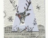 original contemporary art aceo atc mixed media miniature artist trading card stag deer