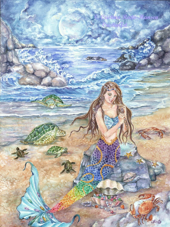Mermaid Art Moonlight Rainbow Colored Tail Indigo Skies