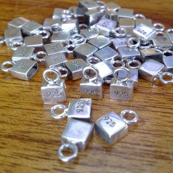 925 Sterling silver square endcap 5 x 5 x 2 mm for DIY bracelet pack for 6 pieces endcap