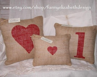 Valentine's Day Pillows- FREE SHIPPING- Valentine's Day gift- Decorative Pillows- Shabby Chic Decor- Shabby Chic Pillows