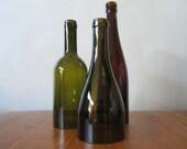 Hand Cut Wine Bottle Hurricane Lanterns - Set of 3