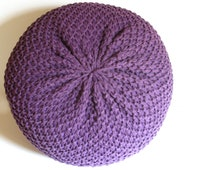 Knitted Pouf - ottoman, foot stool, floor pillow - MADE-TO-ORDER