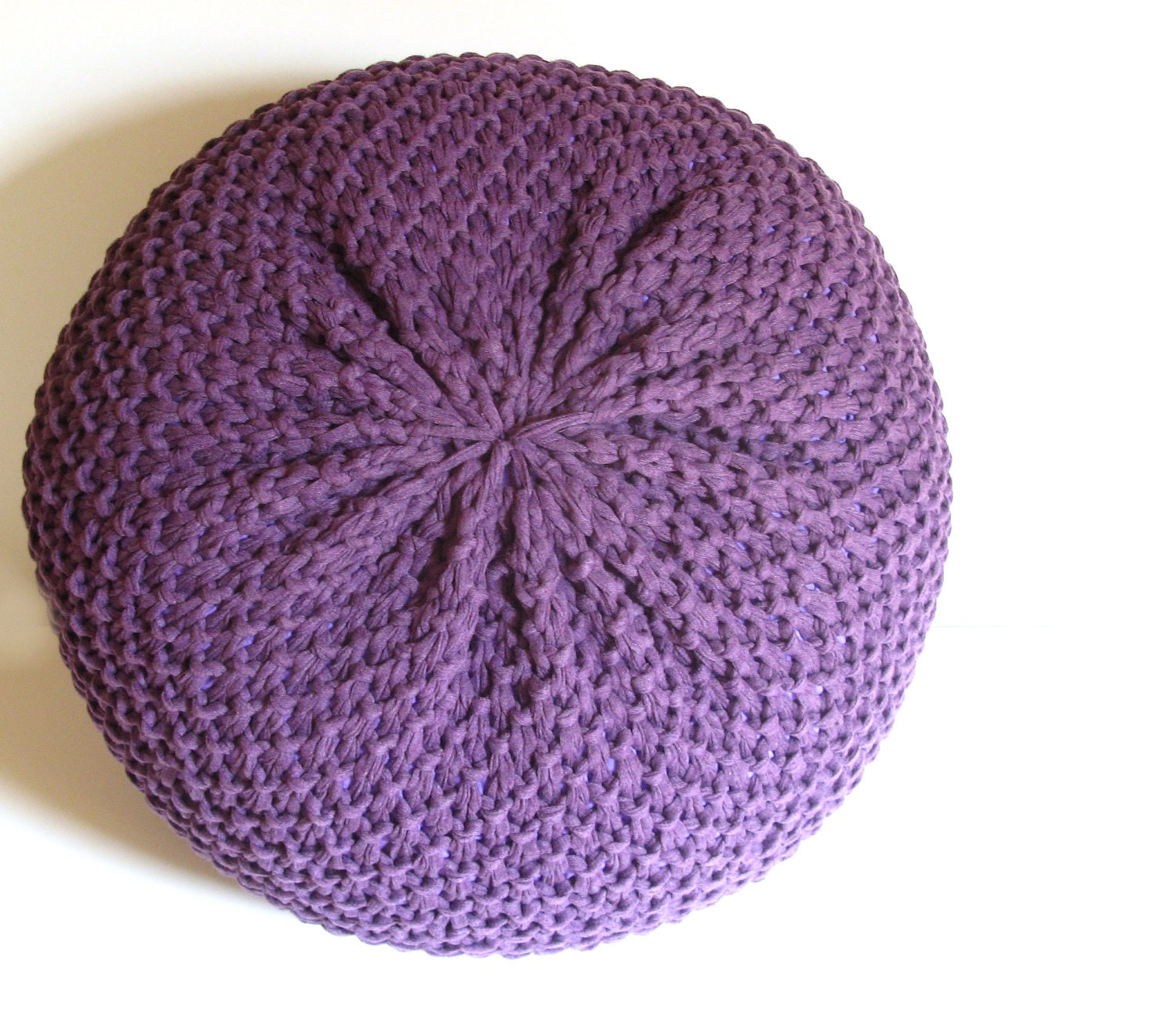 Knitted Pouf ottoman foot stool floor pillow