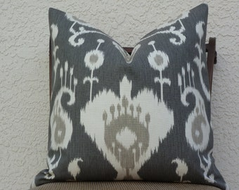 Throw Pillow Cover -  Home Decor Designer Fabric - Pewter/Cream  Accent Pillow - Ikat
