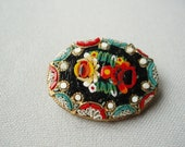 Vintage Italian Micro mosaic Flower Brooch in Black, Red, Yellow and Green