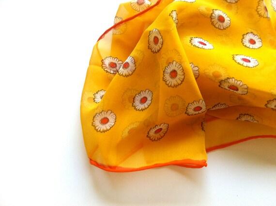Vintage Scarf Headband Yellow Daisy Print Flower  Orange Trim Sheer Scarf. FREE SHIPPING