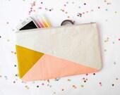 """Clutch 6""""X10"""" color block in beige mustard and peach"""
