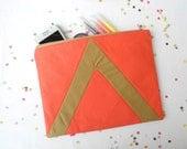 XLARGE zipper pouch 10 x 8 inch geometry color block