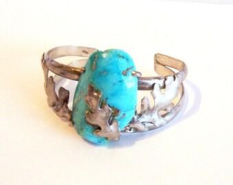 Vintage Turquoise Bracelet: Sterling Silver Oak Leaf Bracelet - P0001