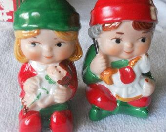 Vintage Christmas Elves Salt and Pepper Shakers Porcelain Avon Original Box Santa's Helpers