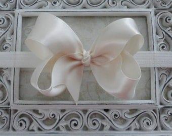 Baby Bow Headband - Large Ivory Satin Bow Headband - Baby Headband - Girls Headband - Great Photo Prop