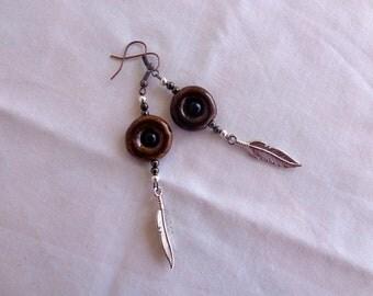 Primal Hoop Feather Charm Earrings. Dangle Earrings.  Drop Earrings.